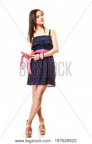 Beauty and fashion concept - young woman in full length fashionable girl in summer dress and high heels