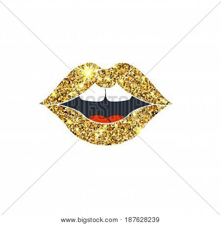 Gold Glitter Vector Lips. Golden Sparcle Kiss. Amber Particles. Luxury Design Element.