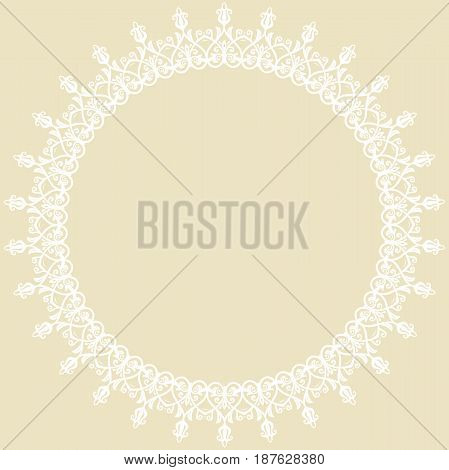 Elegant round white ornament in classic style. Abstract traditional pattern with oriental elements, Classic vintage pattern