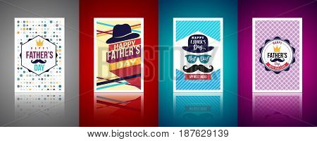 Set of Father's day BrochuresPoster or Banner in vintage style.Set of Happy Fathers day Greeting Card with different Background color.Vector of Love Dad Concept.