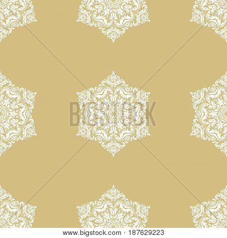Seamless classic golden and white pattern. Traditional orient ornament. Classic vintage background