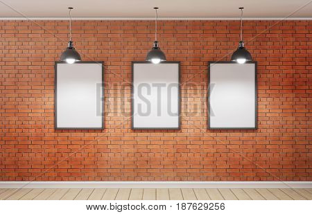 Studio And Three Picture On Brick Wall. 3D Rendering.