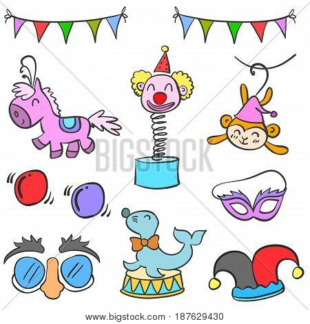 Collection circus element cute doodles vector illustration