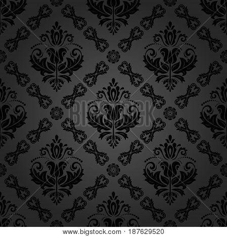 Damask classic dark pattern. Seamless abstract background with repeating elements. Orient background