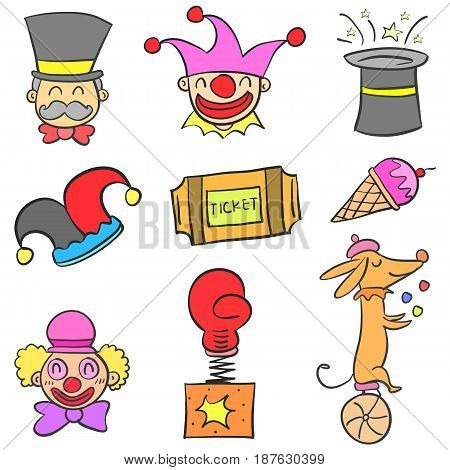 Set element circus doodle style vector illustration