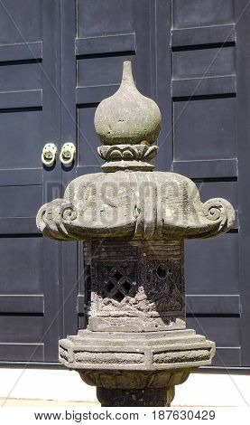 Stone Lantern At The Temple In Kyoto, Japan