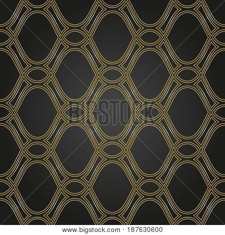 Seamless ornament. Modern background. Geometric pattern with repeating golden wavy lines