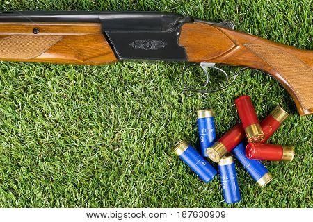Hunting rifle and cartridges concept on the grass
