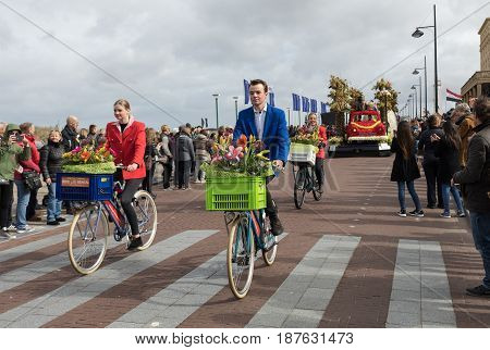 NOORDWIJK NETHERLANDS - 22 APRIL 2017: the traditional flowers parade Bloemencorso from Noordwijk to Haarlem in the Netherlands.