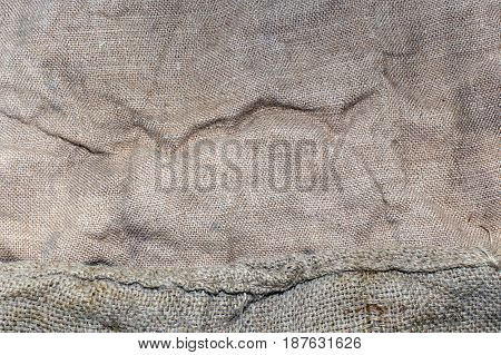 Old sack closeup texture - stock photo. Texture