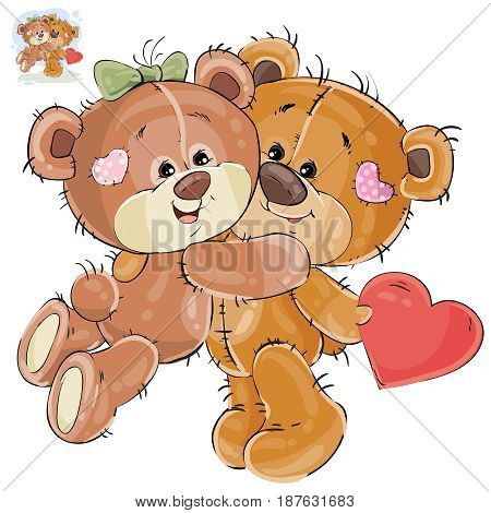Vector illustration of a loving brown teddy bear hides behind his back a valentine, and his girlfriend hugs him by the neck. Print, template, design element
