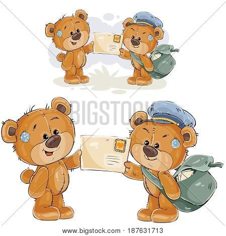 Vector illustration of a brown teddy bear postman giving a letter to another teddy bear. Print, template, design element