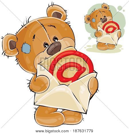 Vector illustration of a brown teddy bear holding in its paws an open postal envelope with an e-mail sign. Print, template, design element