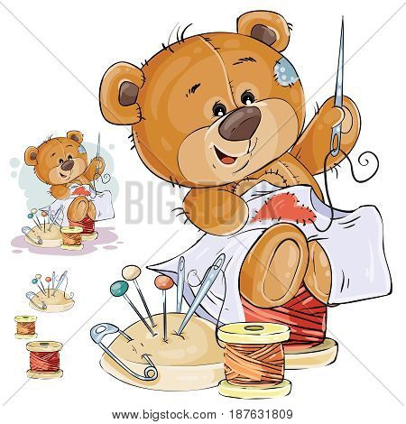 Vector illustration of a brown teddy bear tailor sews a red patch in the shape of a heart. Print, template, design element