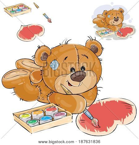 Vector illustration of a brown teddy bear lies on the floor and paints a heart with a brush and a red paint. Print, template, design element