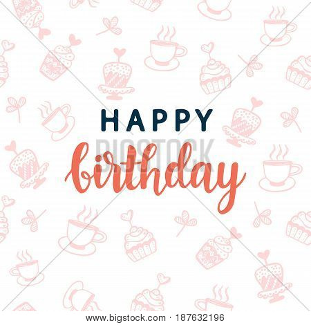 Happy Birthday greeting card template. Party invitation design