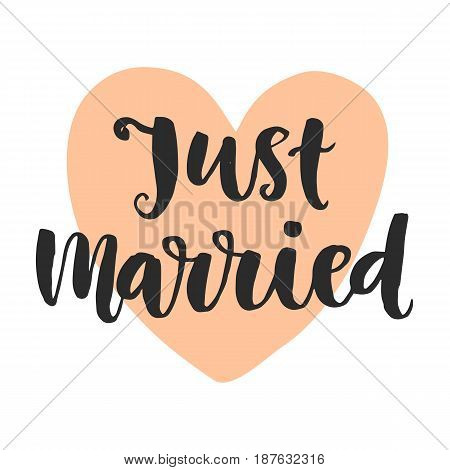 Just married. Wedding day invitations lettering, isolated on white. Hand drawn brush calligraphy. Typography card template, sticker label. Vector design element
