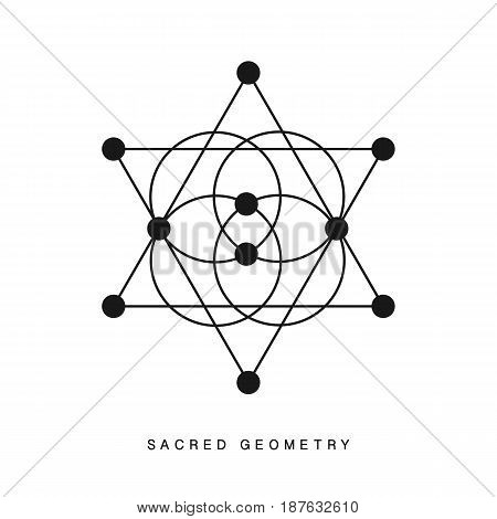 Sacred geometry sign, tattoo, isolated on white. Alchemy linear modern art. Philosophy, religion, astrology tribal aztec emblem. Esoteric, science, hipster symbol. Vector logo, tee shirt print.
