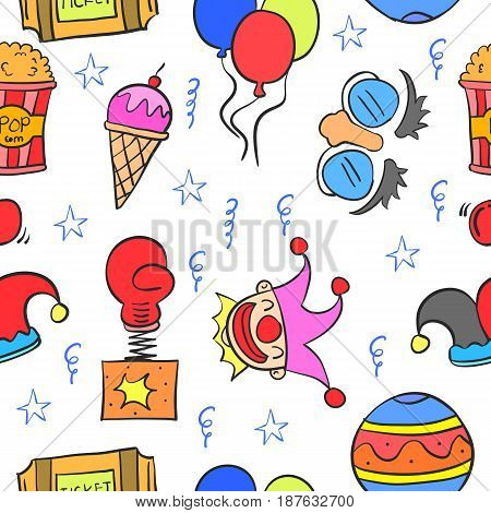 Doodle of element circus hand draw vector illustration