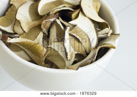 Close Up Of Dried Eadible Mushrooms