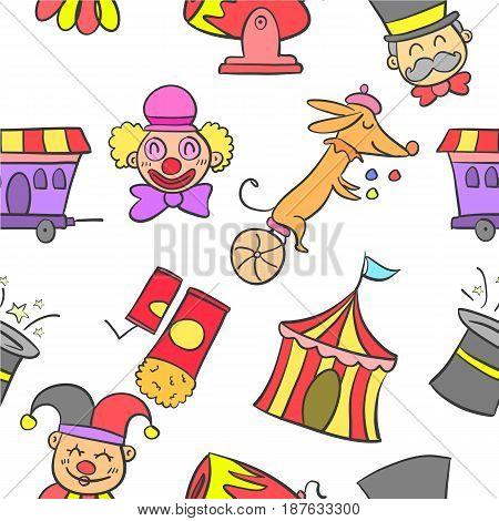 Element circus various cute doodles vector art