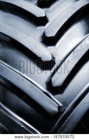 Tractor tire detail close up of agricultural machinery rubber tyre