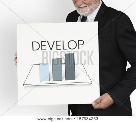 Businessman with analysis business graph illustration