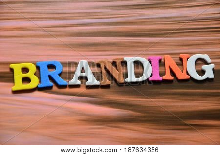 word branding on a  abstract colorful background