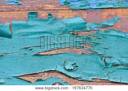 Old Wooden Painted Blue Planks, Paint Peeling Background