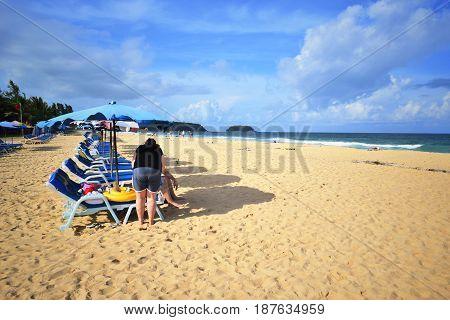 Sea sand beach beautiful sky Phuket Thailand