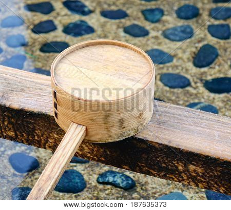 Japanese Wooden Ladle At Shinto Temple