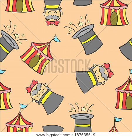 Hat and tent circus doodles vector art