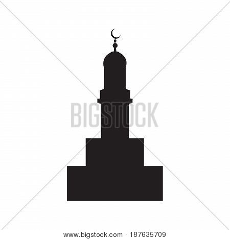 Vector picture of the silhouette of the building of the mosque with a crescent flat icon.
