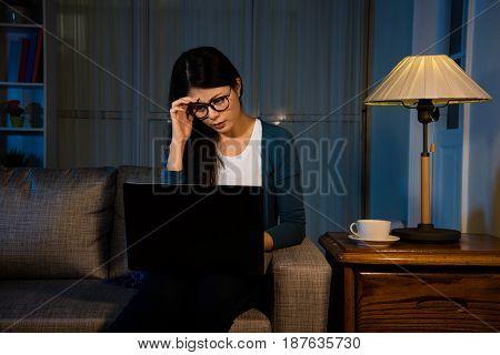 Asian Effort Woman Having Painful