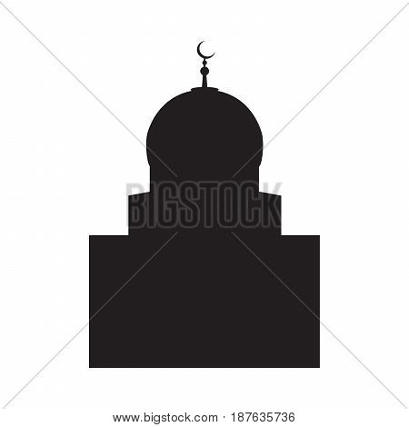Vector picture of a silhouette of a mosque with a large dome and a crescent a flat icon.