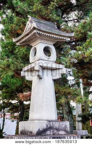 Stone Lantern At A Temple In Kyoto, Japan