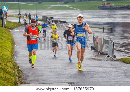 Krakow, Poland - April 30, 2017: Unidentified Runners On The Street During  16 Cracovia Marathon . T
