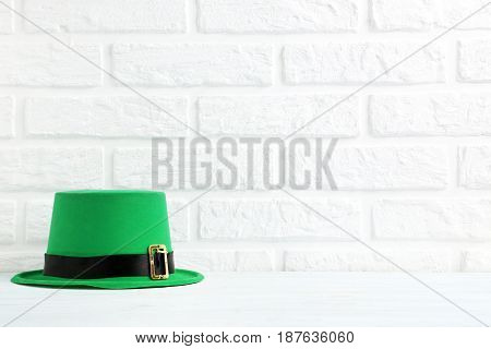 Green St. Patrick's Day Hat On Brick Wall Background
