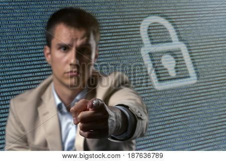 Businessman Cyber security network concept.  Cyber security network concept