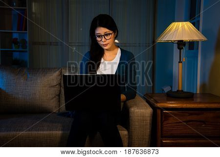 Businesswoman Working On Office At Night