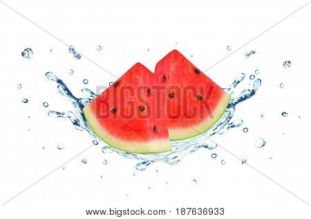 Watermelon splash water isolated on a white background
