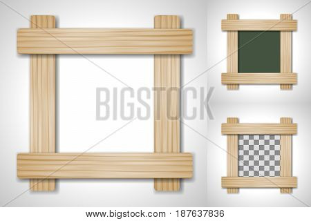 Vector wooden frame of four plates on different backgrounds, including transparent. For use as a frame for images, photographs, inscriptions in your design