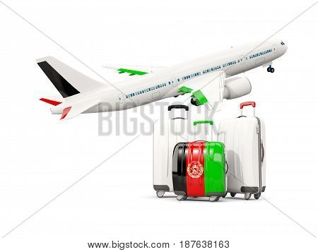 Luggage With Flag Of Afghanistan. Three Bags With Airplane