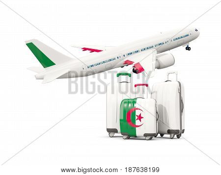 Luggage With Flag Of Algeria. Three Bags With Airplane