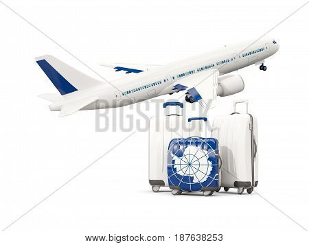 Luggage With Flag Of Antarctica. Three Bags With Airplane