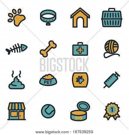 Vector flat pet icons set on white background