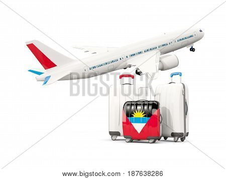 Luggage With Flag Of Antigua And Barbuda. Three Bags With Airplane