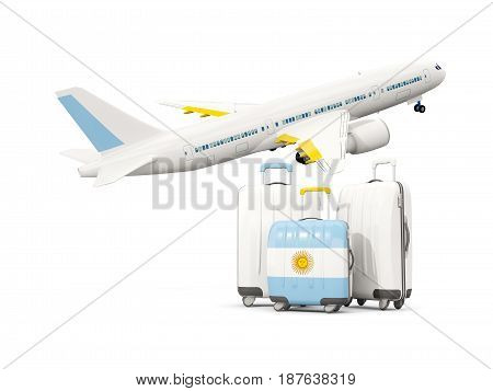 Luggage With Flag Of Argentina. Three Bags With Airplane