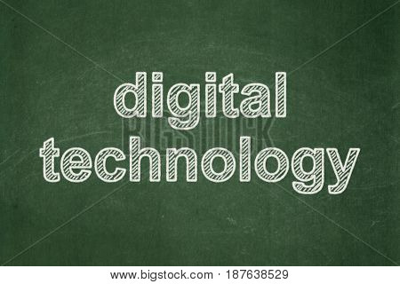 Data concept: text Digital Technology on Green chalkboard background