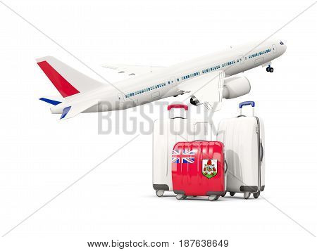 Luggage With Flag Of Bermuda. Three Bags With Airplane
